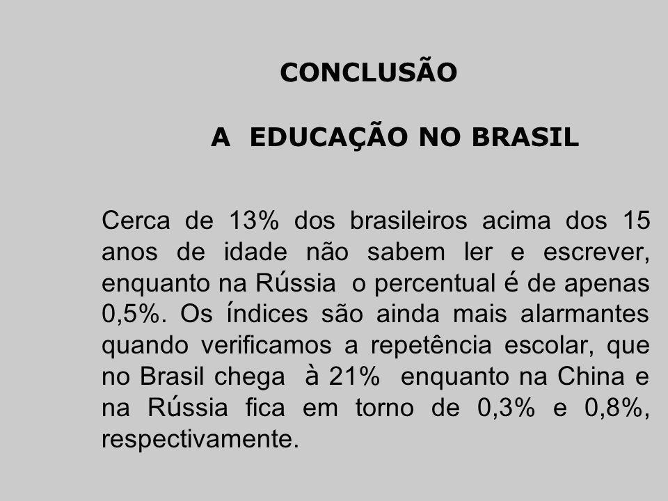 CONCLUSÃO A EDUCAÇÃO NO BRASIL.