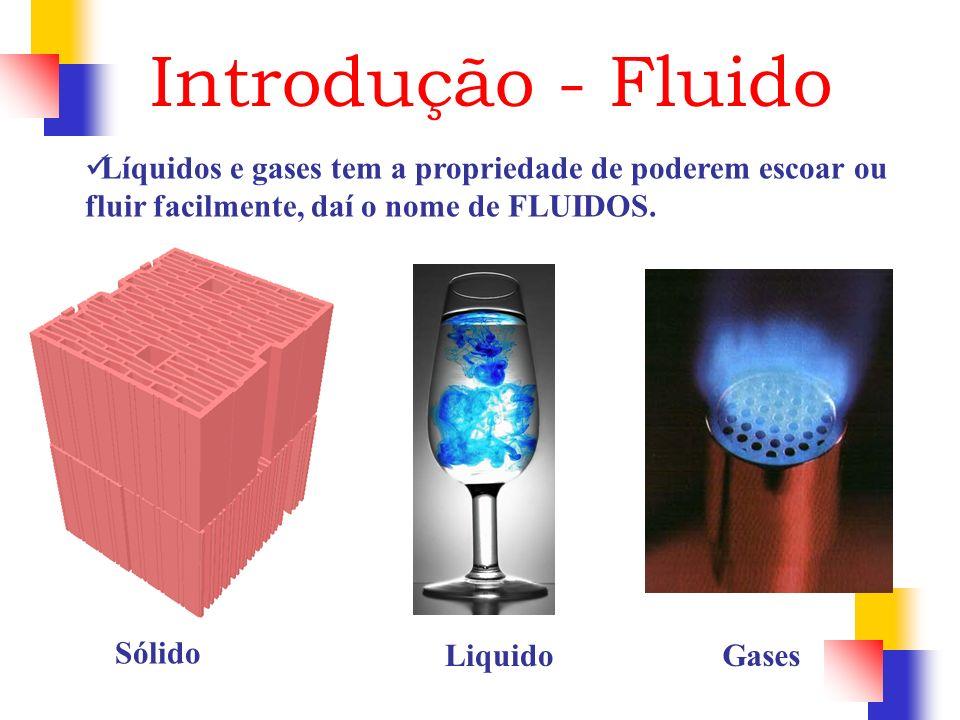 Introdução - Fluido Líquidos e gases tem a propriedade de poderem escoar ou fluir facilmente, daí o nome de FLUIDOS.