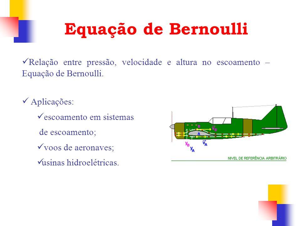 Equação de Bernoulli Relação entre pressão, velocidade e altura no escoamento – Equação de Bernoulli.