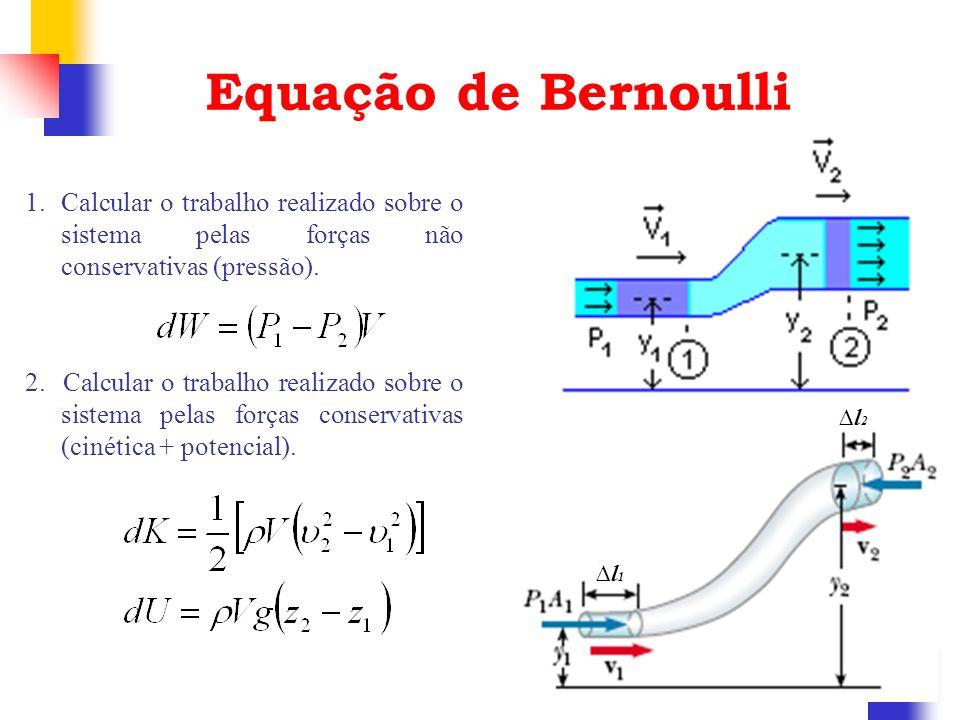 Equação de BernoulliCalcular o trabalho realizado sobre o sistema pelas forças não conservativas (pressão).