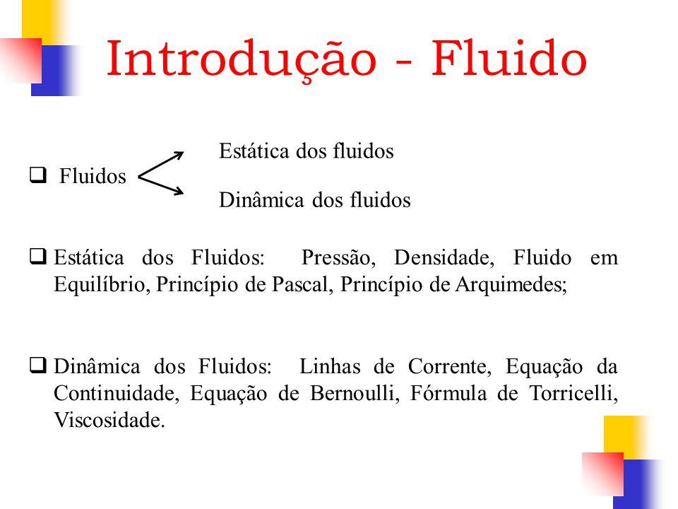 Introdução - Fluido Fluidos Estática dos fluidos