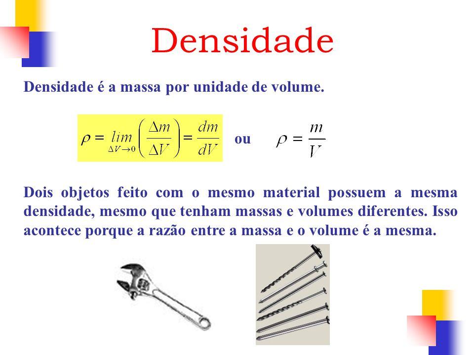 Densidade Densidade é a massa por unidade de volume. ou