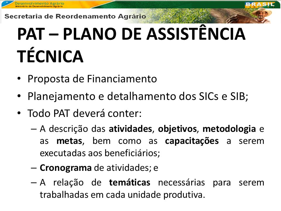 PAT – PLANO DE ASSISTÊNCIA TÉCNICA
