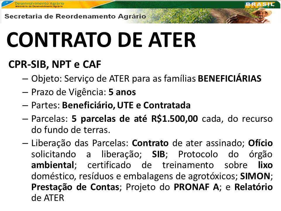 CONTRATO DE ATER CPR-SIB, NPT e CAF