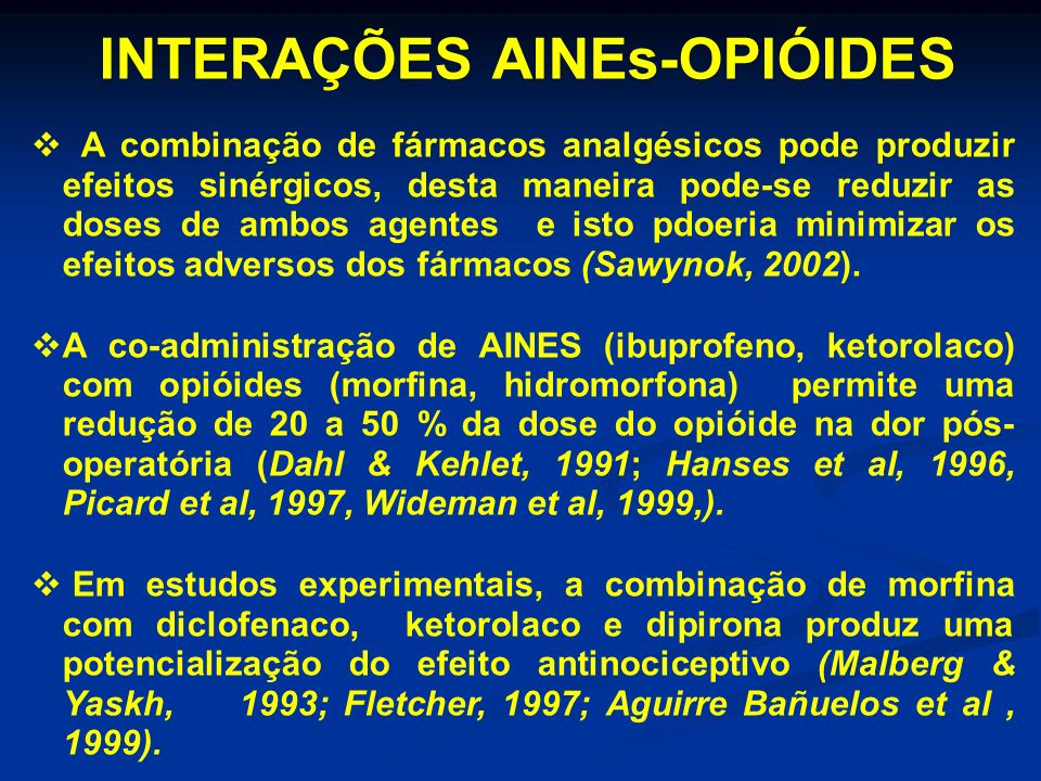 INTERAÇÕES AINEs-OPIÓIDES