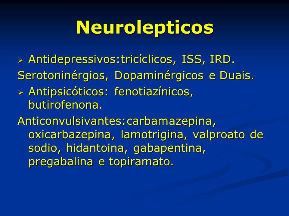 Neurolepticos Antidepressivos:tricíclicos, ISS, IRD.