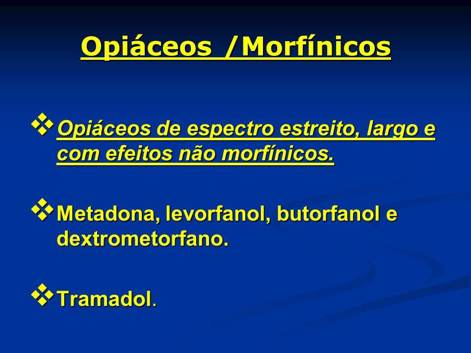 Opiáceos /Morfínicos Opiáceos de espectro estreito, largo e com efeitos não morfínicos. Metadona, levorfanol, butorfanol e dextrometorfano.