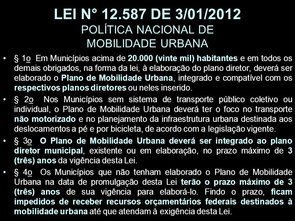 LEI N° 12.587 DE 3/01/2012 POLÍTICA NACIONAL DE MOBILIDADE URBANA