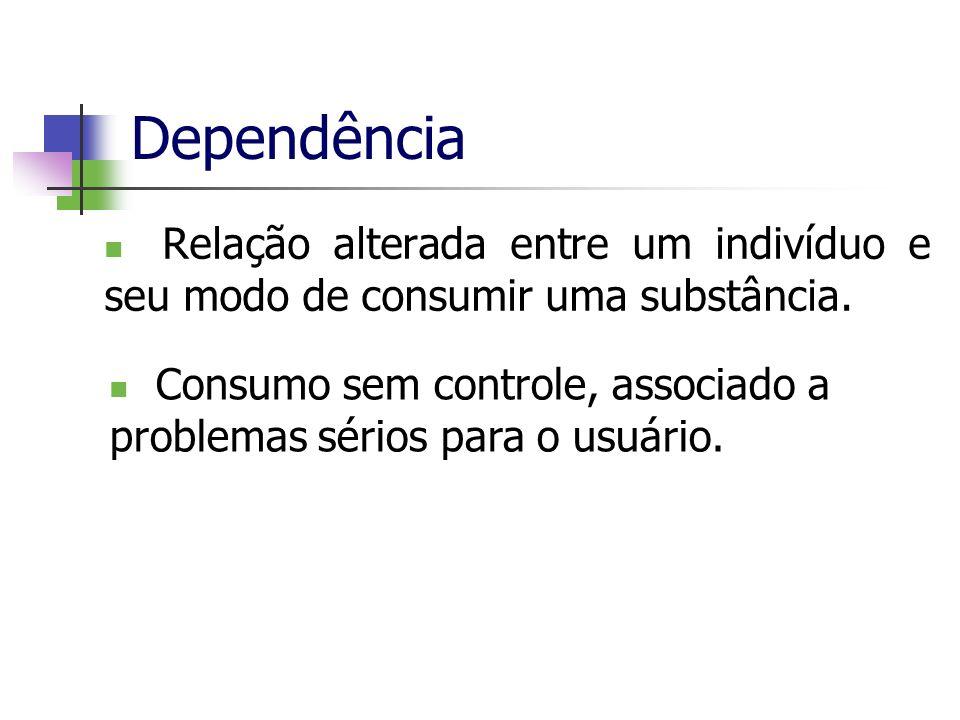 Dependência Relação alterada entre um indivíduo e seu modo de consumir uma substância.