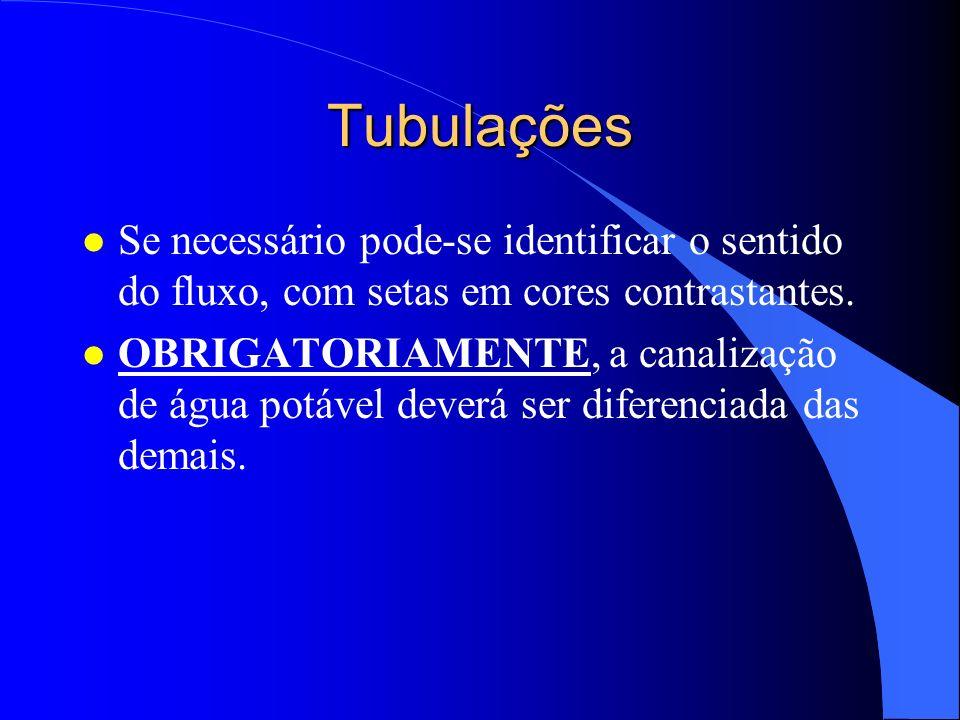 Tubulações Se necessário pode-se identificar o sentido do fluxo, com setas em cores contrastantes.