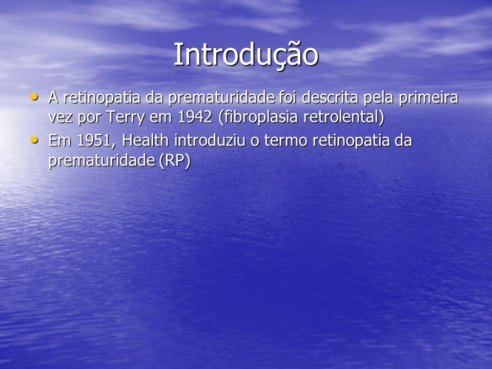 Introdução A retinopatia da prematuridade foi descrita pela primeira vez por Terry em 1942 (fibroplasia retrolental)