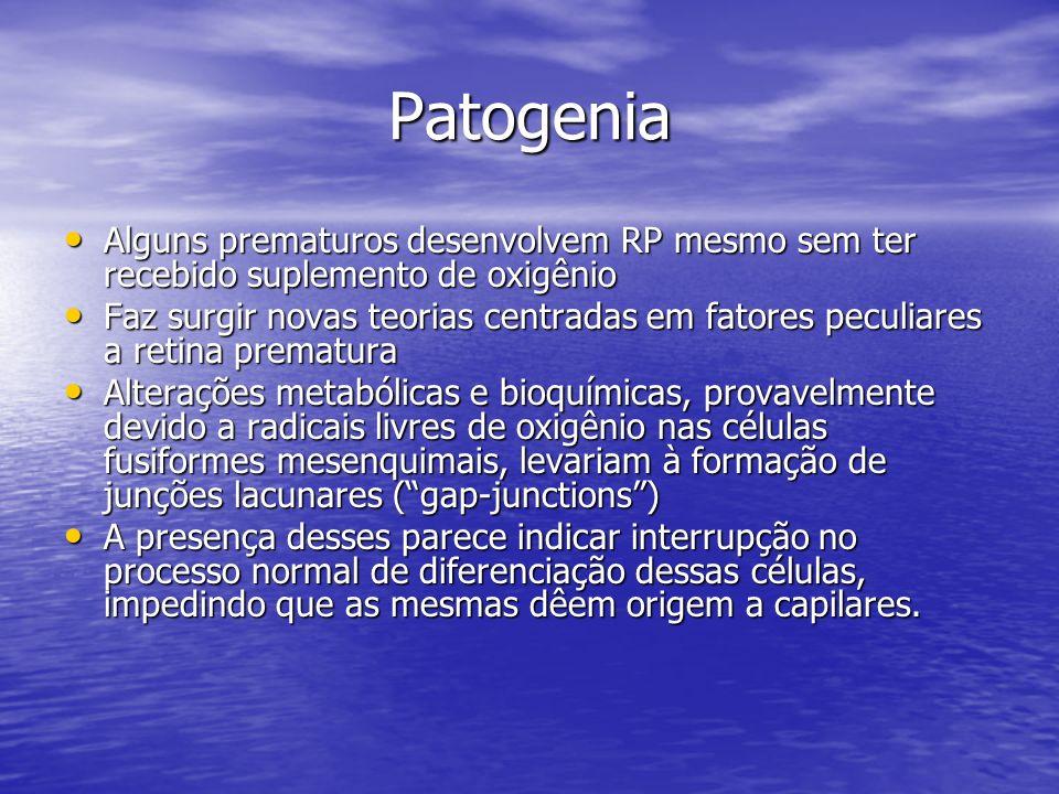 Patogenia Alguns prematuros desenvolvem RP mesmo sem ter recebido suplemento de oxigênio.