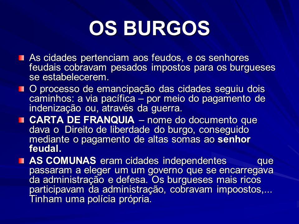 OS BURGOSAs cidades pertenciam aos feudos, e os senhores feudais cobravam pesados impostos para os burgueses se estabelecerem.