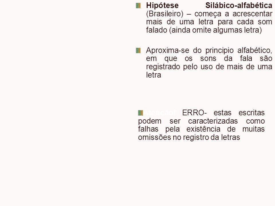 Hipótese Silábico-alfabética (Brasileiro) – começa a acrescentar mais de uma letra para cada som falado (ainda omite algumas letra)