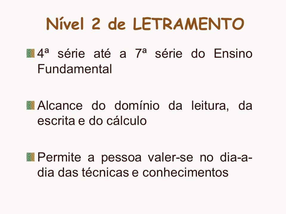 Nível 2 de LETRAMENTO 4ª série até a 7ª série do Ensino Fundamental