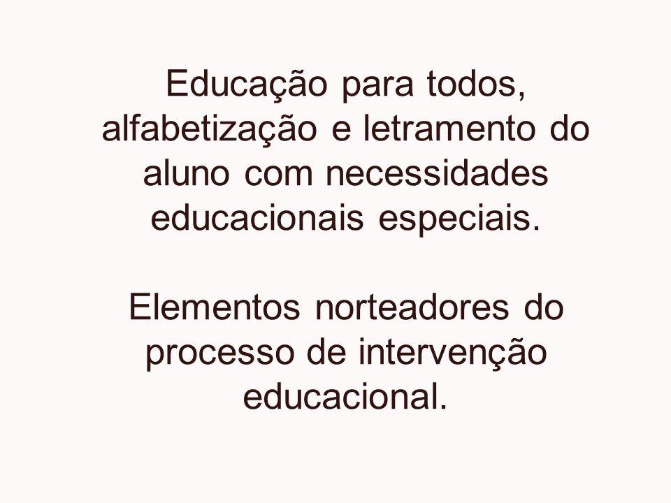 Educação para todos, alfabetização e letramento do aluno com necessidades educacionais especiais.