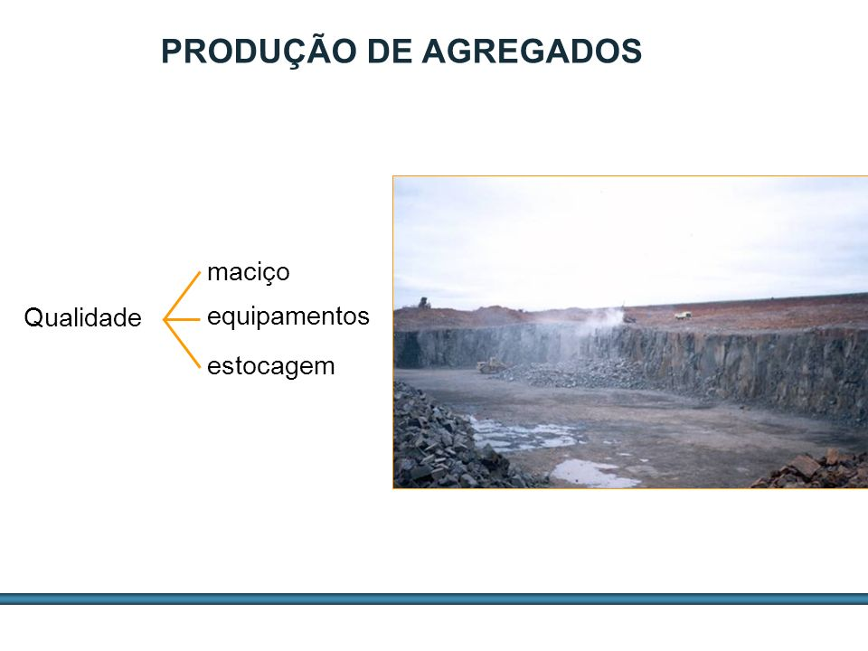 PRODUÇÃO DE AGREGADOS maciço Qualidade equipamentos estocagem