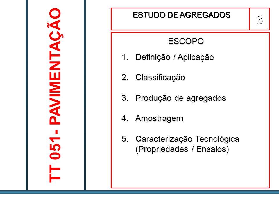 TT 051- PAVIMENTAÇÃO 3 ESCOPO Definição / Aplicação Classificação