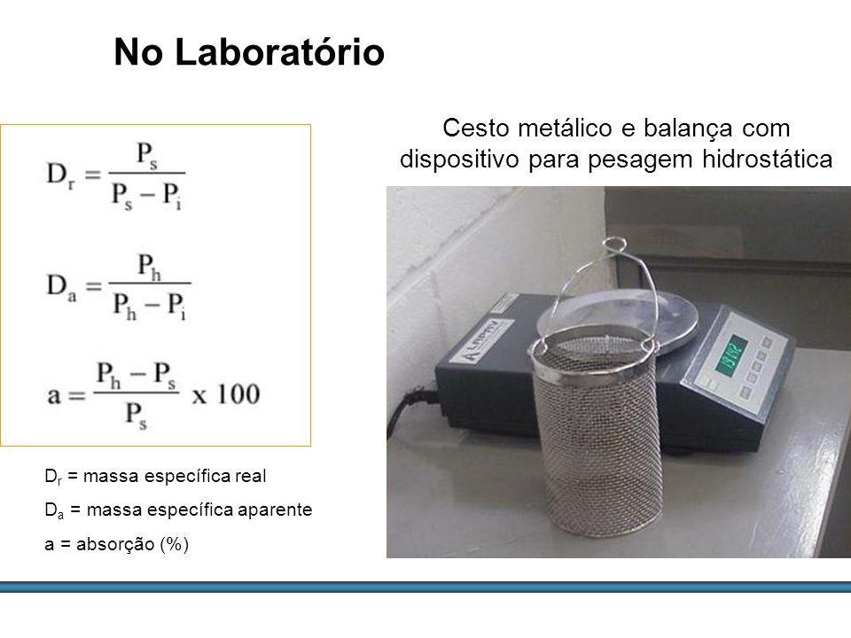 Cesto metálico e balança com dispositivo para pesagem hidrostática