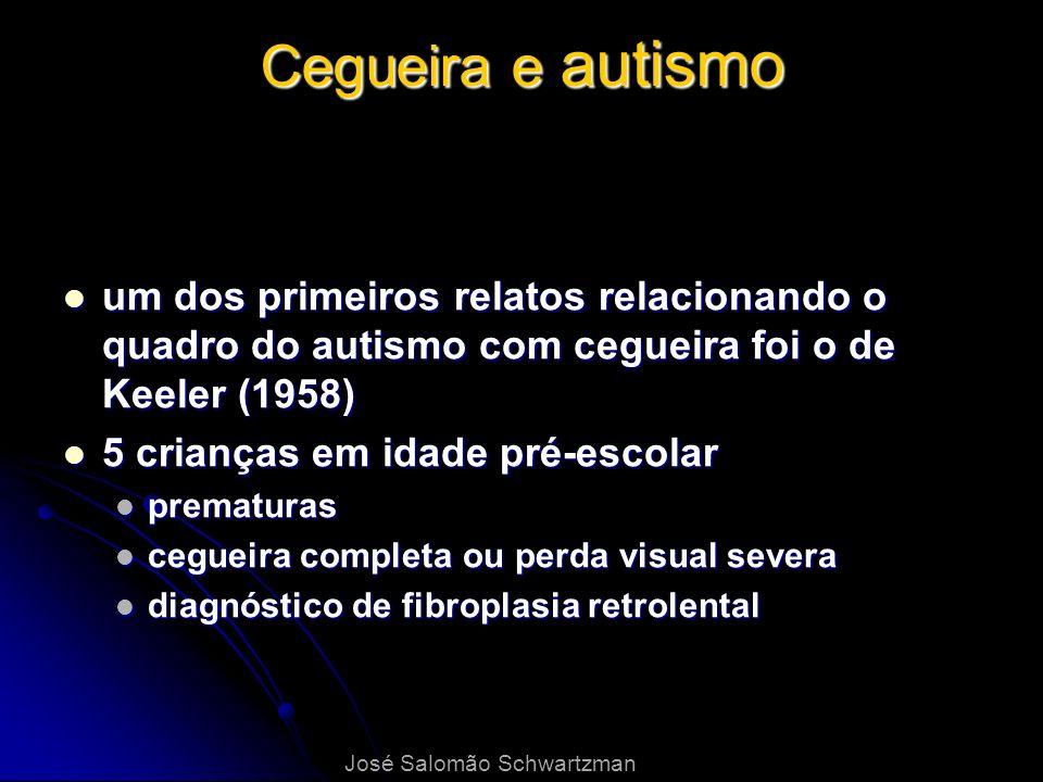 Cegueira e autismo um dos primeiros relatos relacionando o quadro do autismo com cegueira foi o de Keeler (1958)