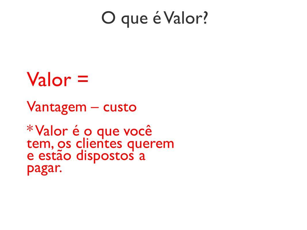 Valor = O que é Valor Vantagem – custo