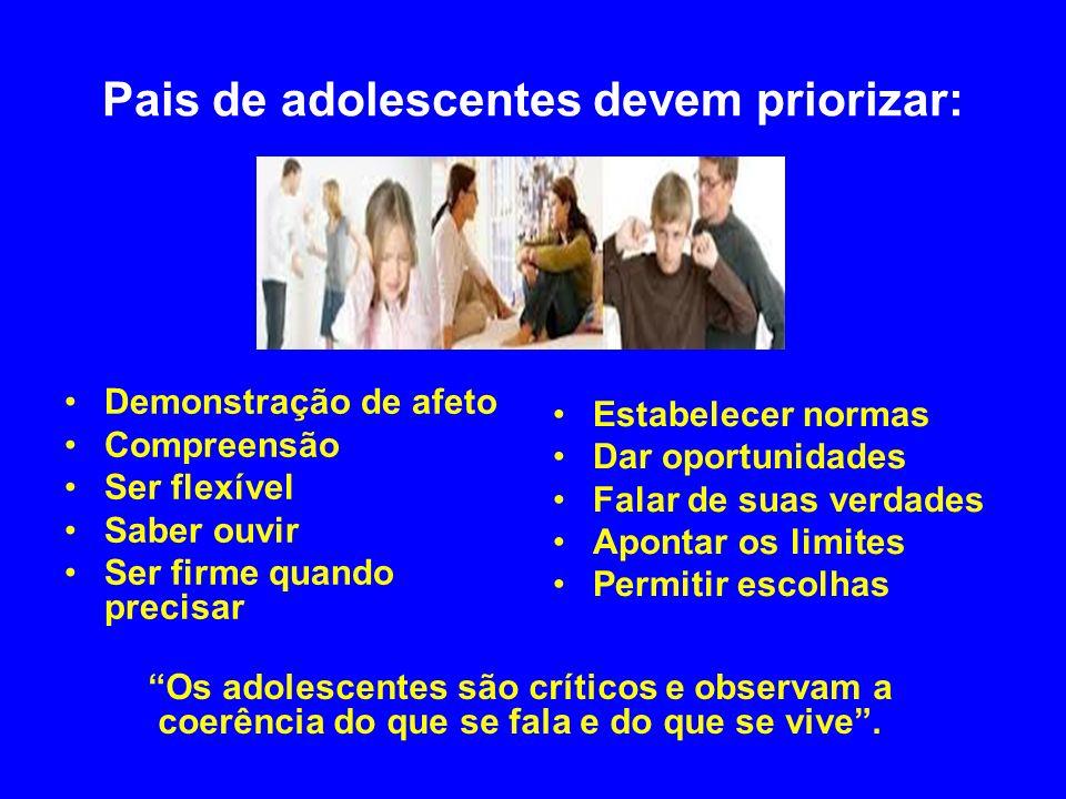 Pais de adolescentes devem priorizar: