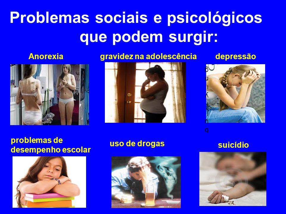 Problemas sociais e psicológicos que podem surgir: