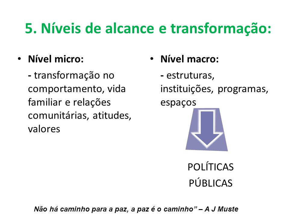 5. Níveis de alcance e transformação: