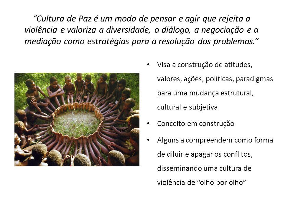 Cultura de Paz é um modo de pensar e agir que rejeita a violência e valoriza a diversidade, o diálogo, a negociação e a mediação como estratégias para a resolução dos problemas.