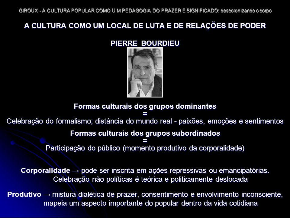 A CULTURA COMO UM LOCAL DE LUTA E DE RELAÇÕES DE PODER PIERRE BOURDIEU