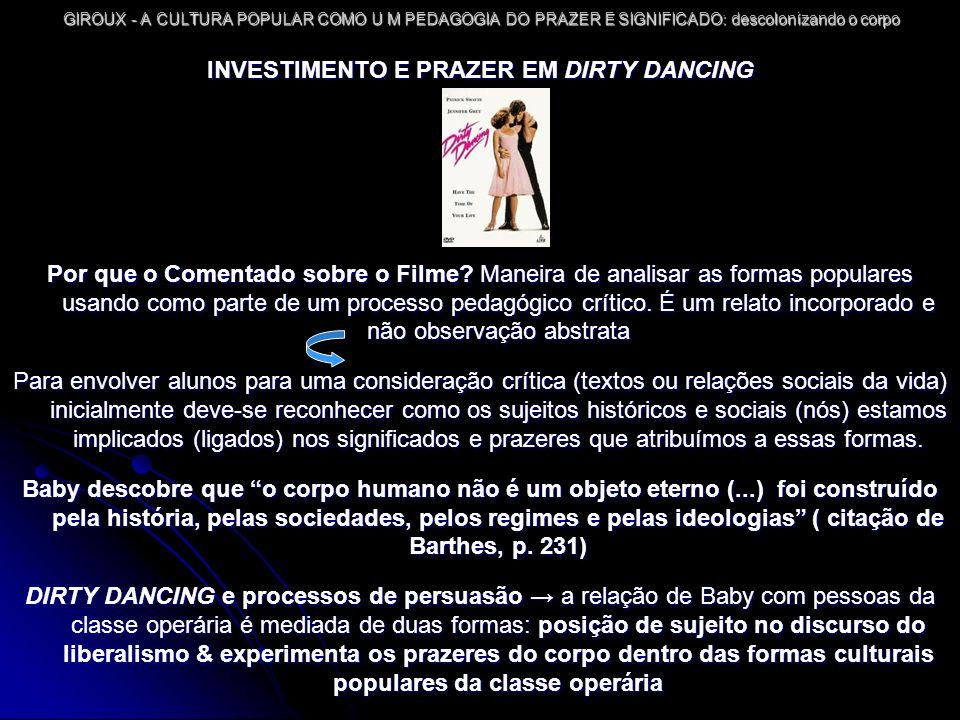 INVESTIMENTO E PRAZER EM DIRTY DANCING