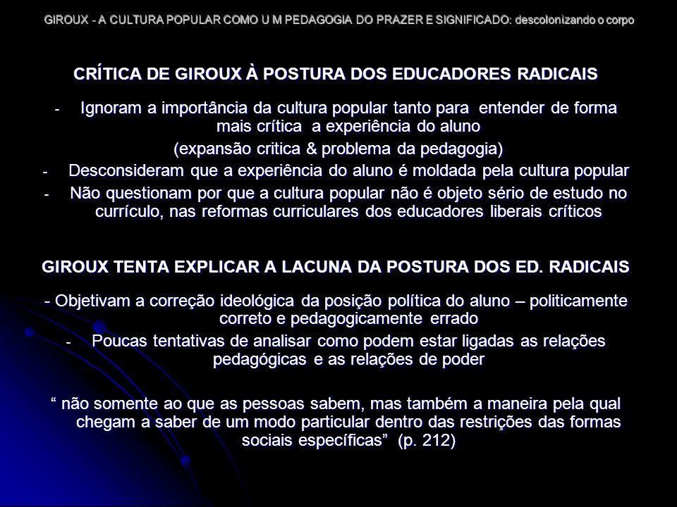 CRÍTICA DE GIROUX À POSTURA DOS EDUCADORES RADICAIS