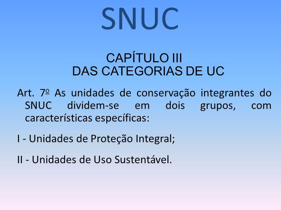 CAPÍTULO III DAS CATEGORIAS DE UC