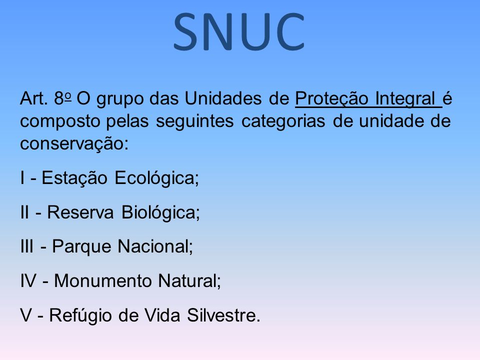 SNUCArt. 8o O grupo das Unidades de Proteção Integral é composto pelas seguintes categorias de unidade de conservação: