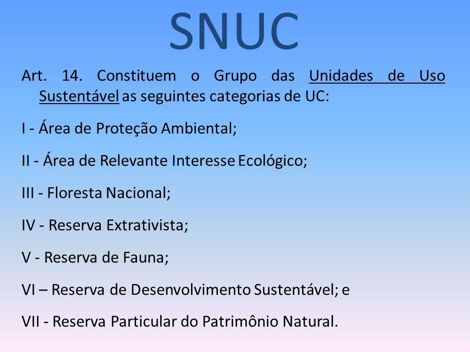 SNUC Art. 14. Constituem o Grupo das Unidades de Uso Sustentável as seguintes categorias de UC: I - Área de Proteção Ambiental;