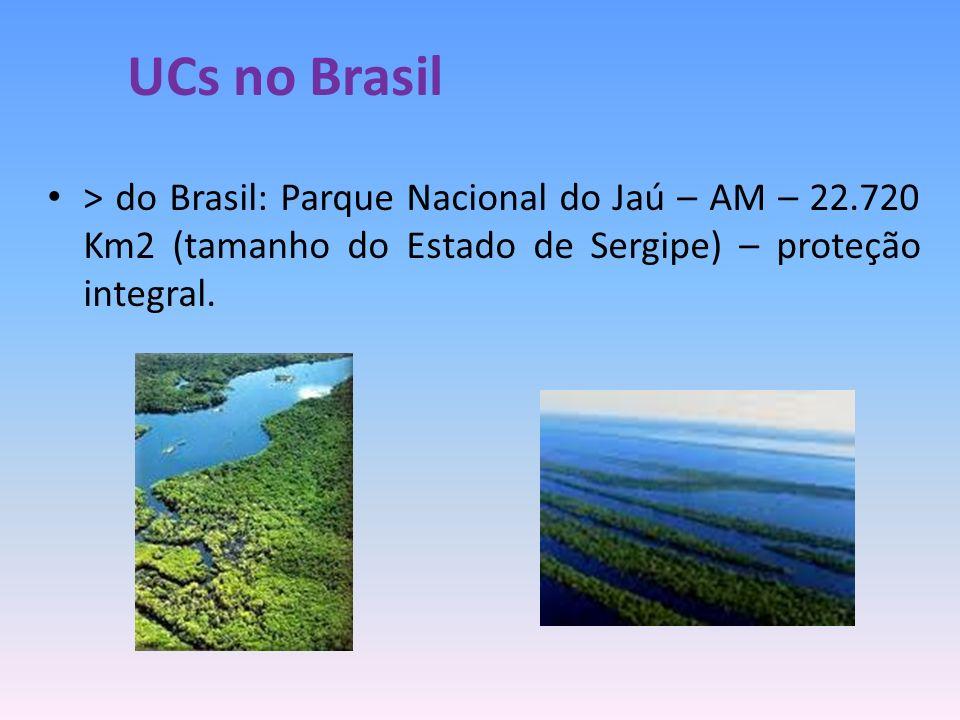 UCs no Brasil> do Brasil: Parque Nacional do Jaú – AM – 22.720 Km2 (tamanho do Estado de Sergipe) – proteção integral.