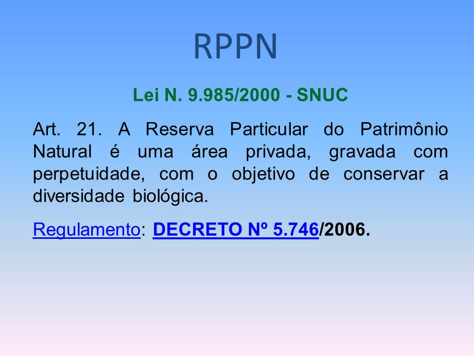 RPPNLei N. 9.985/2000 - SNUC.