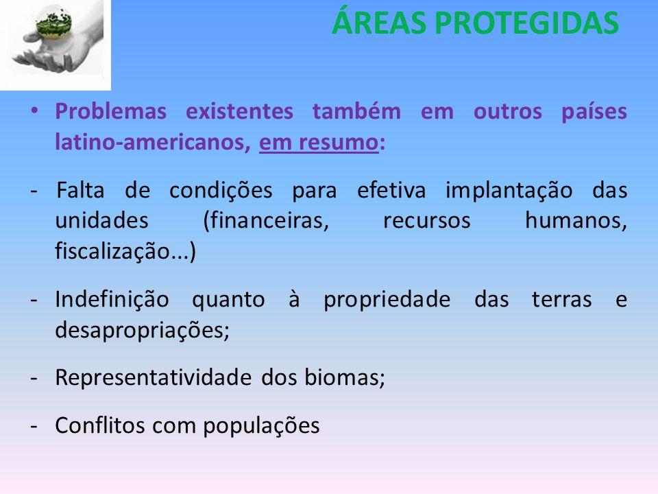 ÁREAS PROTEGIDAS Problemas existentes também em outros países latino-americanos, em resumo:
