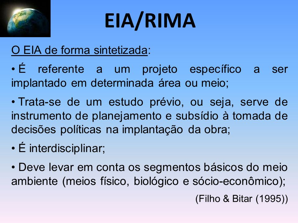 EIA/RIMA O EIA de forma sintetizada: