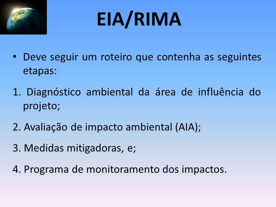 EIA/RIMA Deve seguir um roteiro que contenha as seguintes etapas: