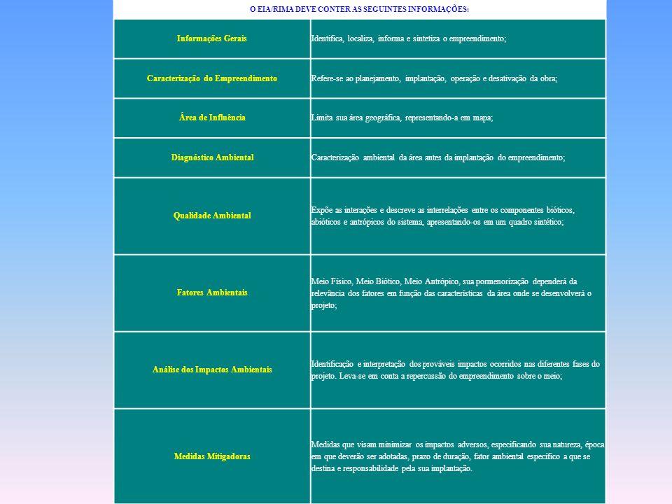 Identifica, localiza, informa e sintetiza o empreendimento;