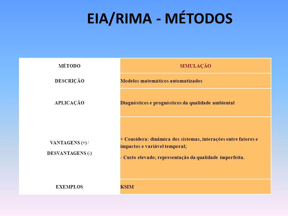 EIA/RIMA - MÉTODOS SIMULAÇÃO Modelos matemáticos automatizados