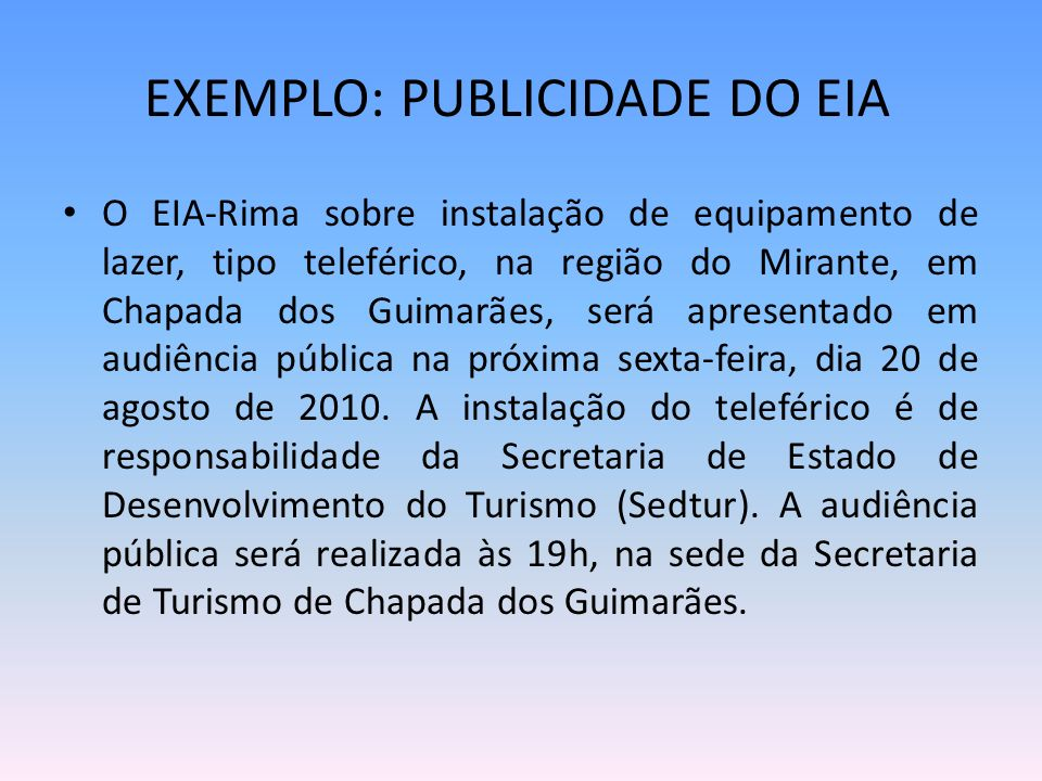 EXEMPLO: PUBLICIDADE DO EIA