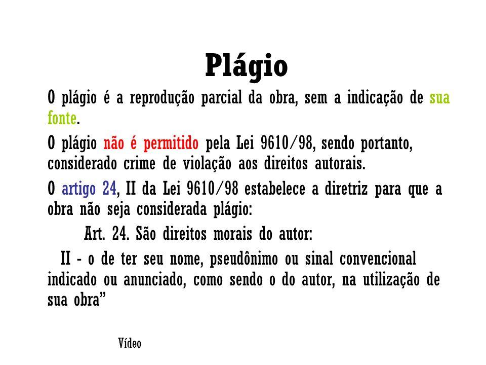 Plágio O plágio é a reprodução parcial da obra, sem a indicação de sua fonte.