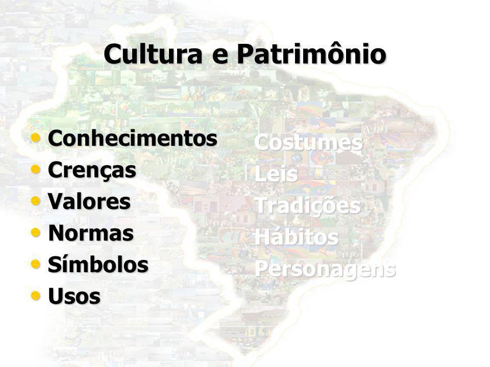 Cultura e Patrimônio Conhecimentos Costumes Crenças Leis Valores