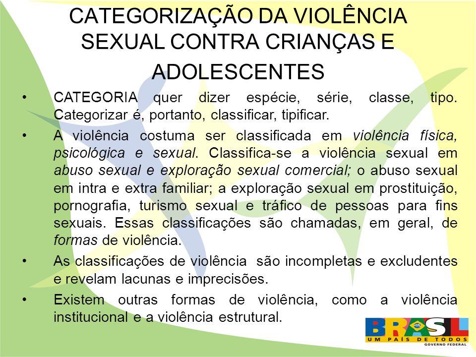 CATEGORIZAÇÃO DA VIOLÊNCIA SEXUAL CONTRA CRIANÇAS E ADOLESCENTES
