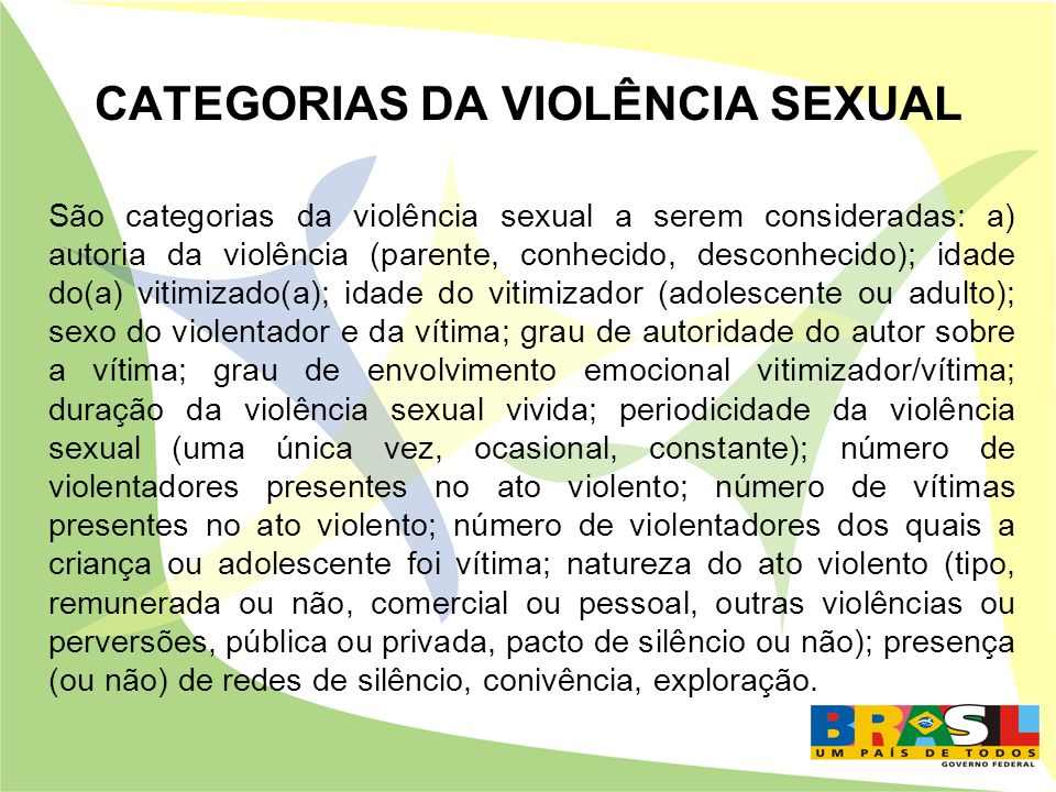 CATEGORIAS DA VIOLÊNCIA SEXUAL