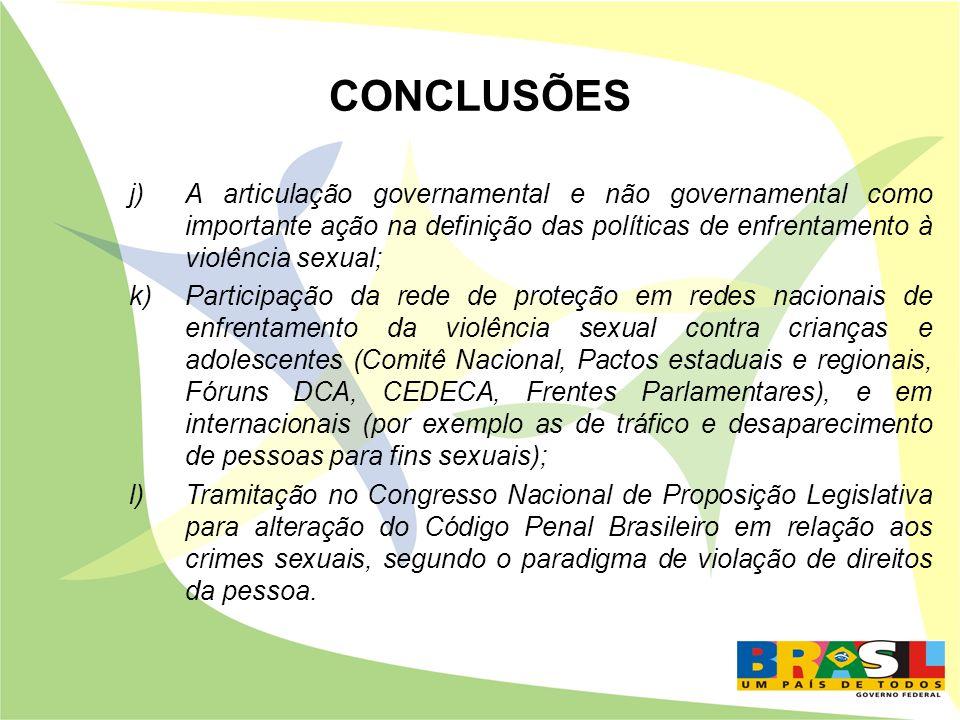 CONCLUSÕES A articulação governamental e não governamental como importante ação na definição das políticas de enfrentamento à violência sexual;
