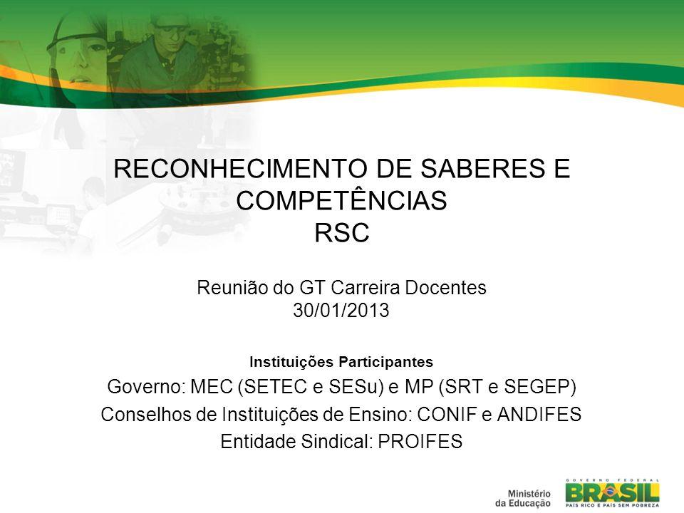 RECONHECIMENTO DE SABERES E COMPETÊNCIAS RSC
