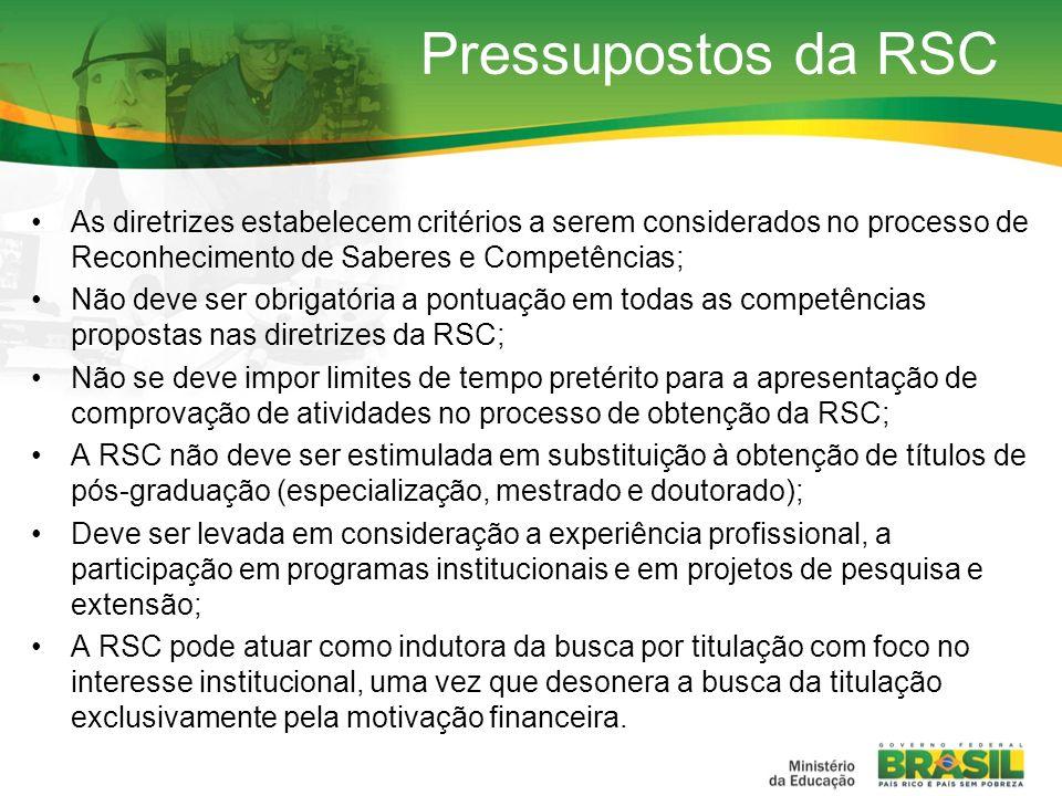 Pressupostos da RSC As diretrizes estabelecem critérios a serem considerados no processo de Reconhecimento de Saberes e Competências;